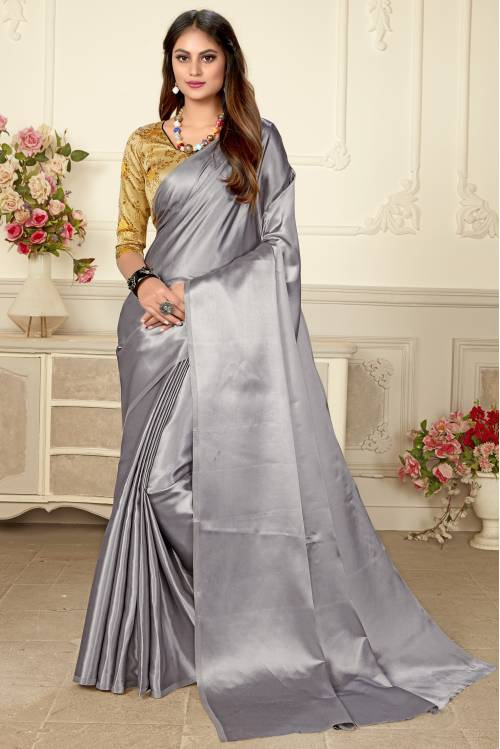 Silver Pure Japan Satin Solid Saree With Blouse Piece