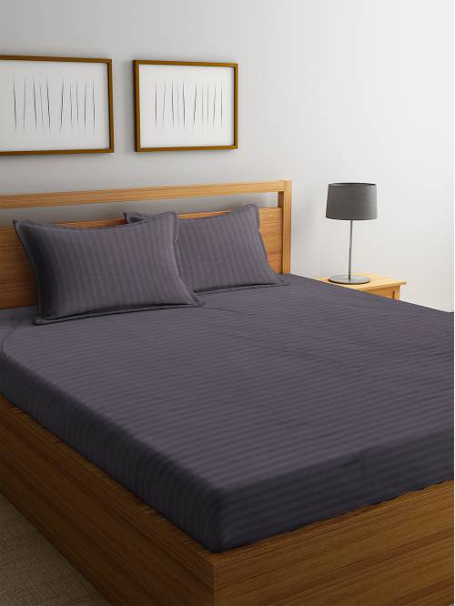 Grey Striped 280 Tc Satin Cotton King Size Bed Sheet With 2 Pillow Covers By Hosta Homes