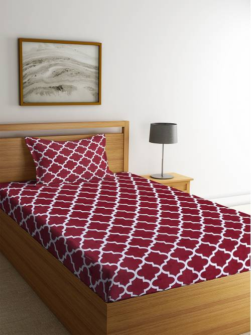 Pure Cotton 180 Tc Single Bed Sheet With One Pillow Cover By Hosta Homes