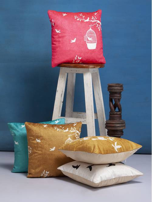 Multicolor Polyester Block Printed Cushion Cover Set Of 5