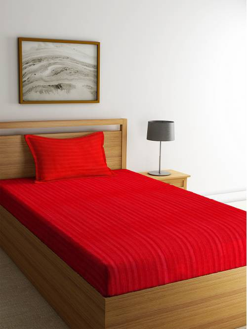 Satin Cotton 280 Tc Single Bed Sheet With 1 Pillow Cover By Hosta Homes