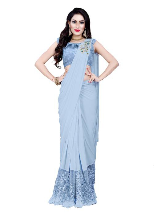 Silver Lycra Resham Embroidered Saree With Blouse Piece