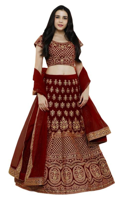 Maroon Taffeta Embroidered Designer Semi-stitched Lehenga Choli