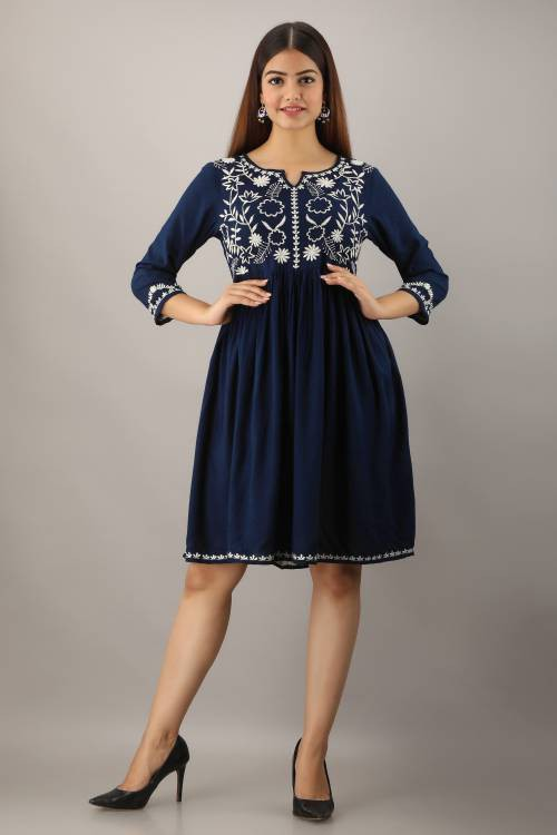 Navy Viscose Embroidered Knee Length Dress