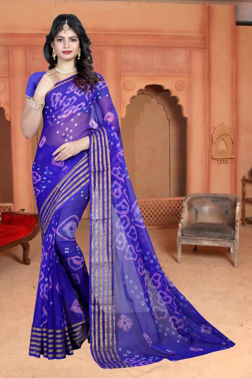Blue Chiffon Designer Hand Crafted Saree With Blouse Piece