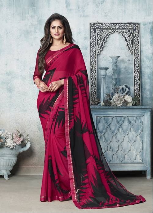 Pink Chiffon Designer Floral Printed Saree With Blouse Piece