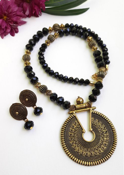 Antique Neckset Made Of Glass Beads Combined With Antique Spacers And Pendant.