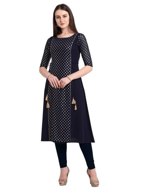 Navy Crepe Printed Knee Length Kurti