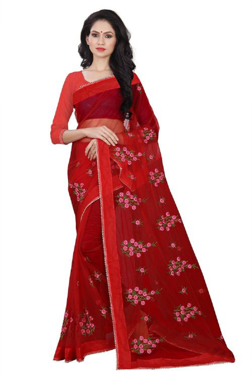 Red Net Designer Embroidered Saree With Blouse Piece