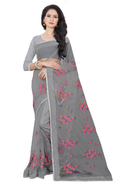 Grey Net Designer Embroidered Saree With Blouse Piece