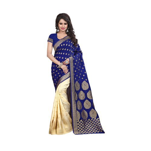 Craftsvilla Blue & Beige Art Silk Zari Work Saree With Blouse
