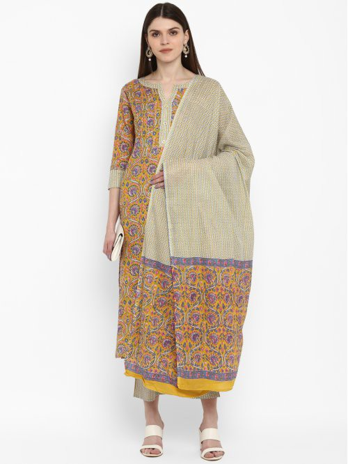 Vbuyz Yellow Cotton Embroidered Straight Kurta With Palazzo And Dupatta