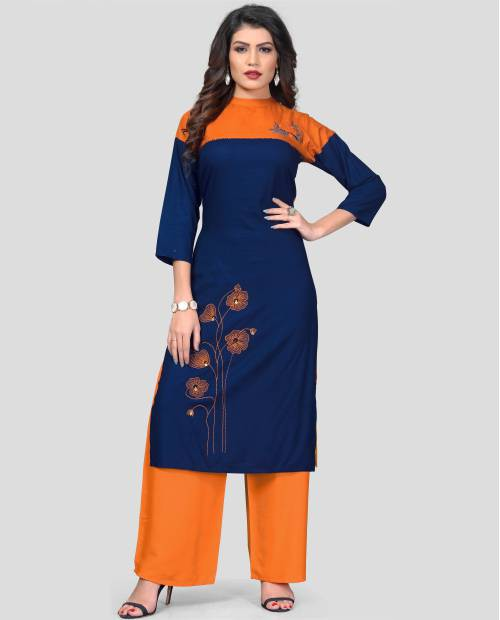 Blue Rayon Embroidered Kurta With Palazzo Set