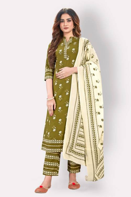 Vbuyz Green Cotton Embroidered A Line Style Kurta With Pant And Dupatta