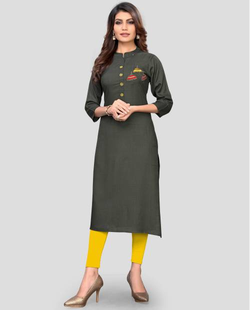 Grey Rayon Embroidered A Line Style Kurti