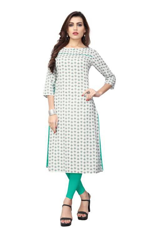 White Cotton Printed Straight Kurti