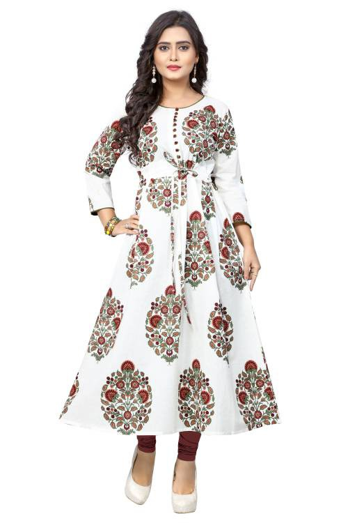 White Cotton Printed Anarkali Kurti
