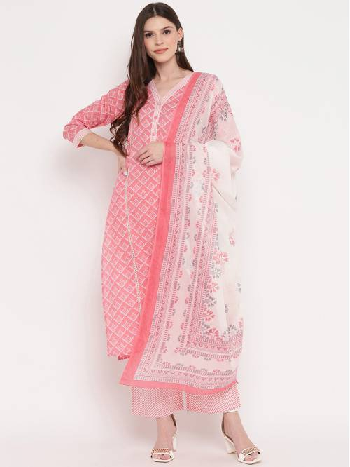 Vbuyz Pink Cotton Printed Kurta Palazzo With Dupatta Set