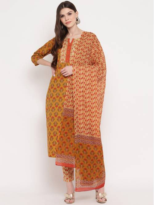 Vbuyz Mustard Yellow Cotton Printed Kurta Pant With Dupatta Set