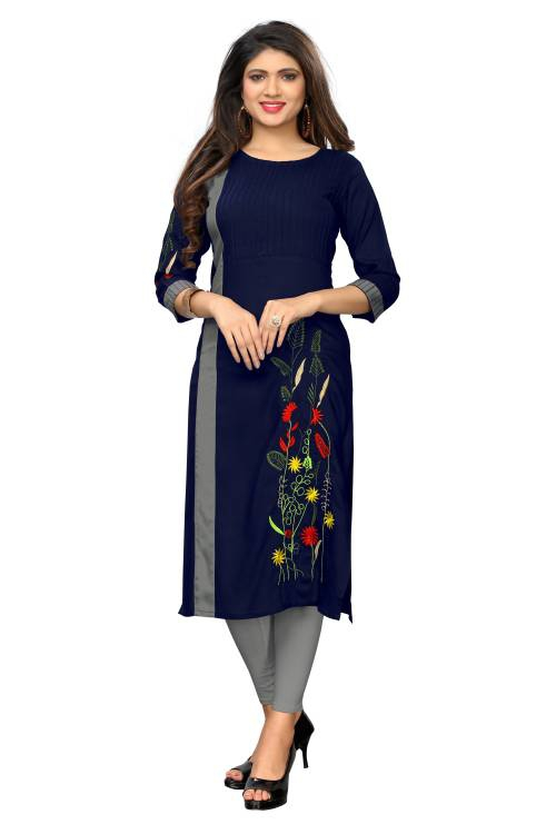 Blue Rayon Embroidered Straight Kurti