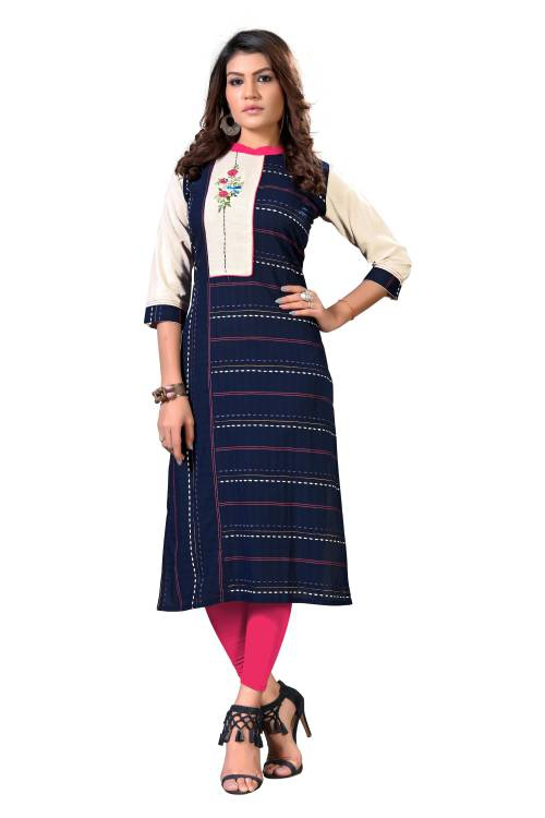 Blue Cotton Embroidered Straight Kurti