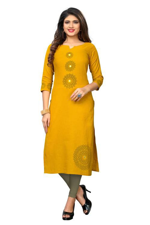 Yellow Cotton Printed Straight Kurti