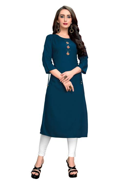Turquoise Rayon Embroidered Straight Kurti