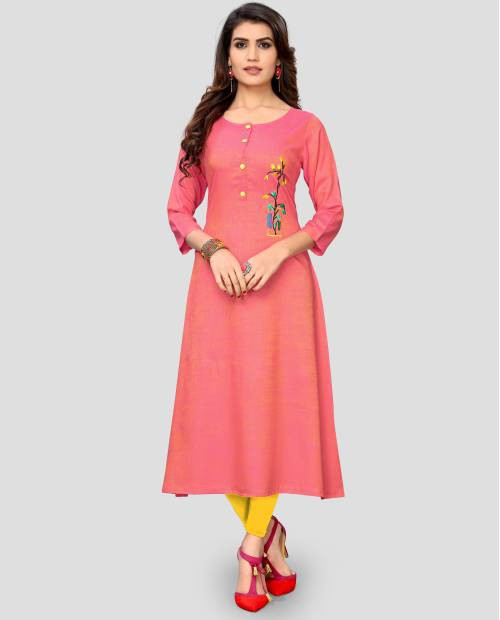 Pink Rayon Embroidered A Line Style Kurti