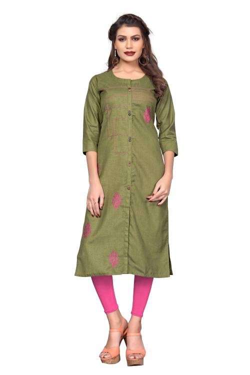 Green Cotton Embroidered Straight Kurti