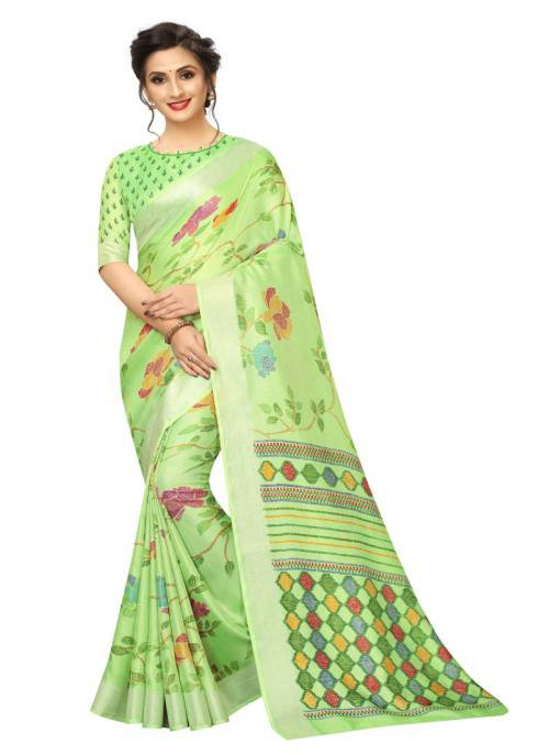 Pastel Linen Printed Saree With Blouse Piece