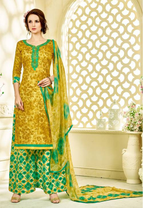 Craftsvilla Mustard Embroidered Party Wear Plazzo Floral Dress Material With Matching Dupatta