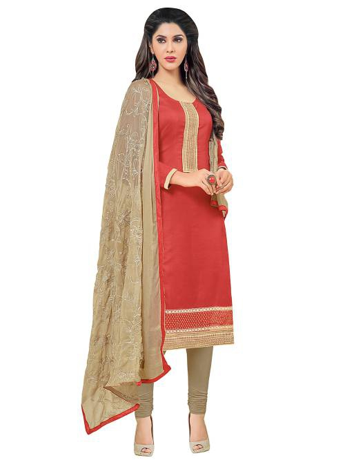 Red Dress Material With Heavy Embroidered Matching Dupatta