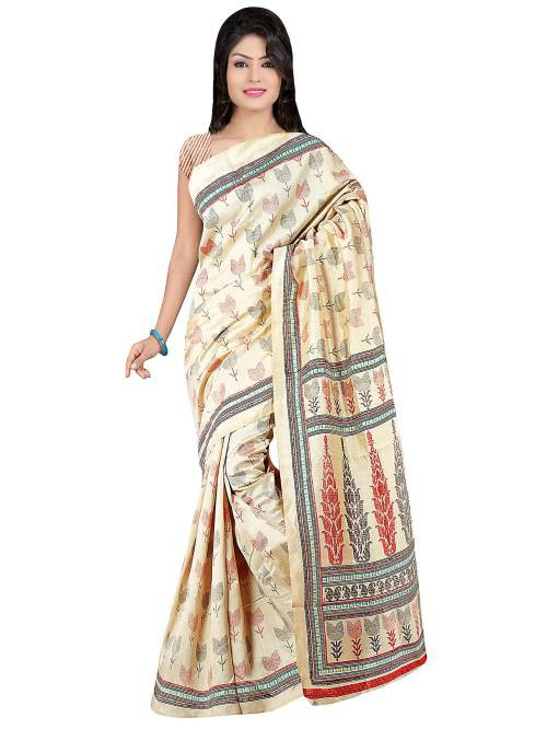 Beige Khadi Silk Printed Saree With Unstitched Blouse 2rly8801