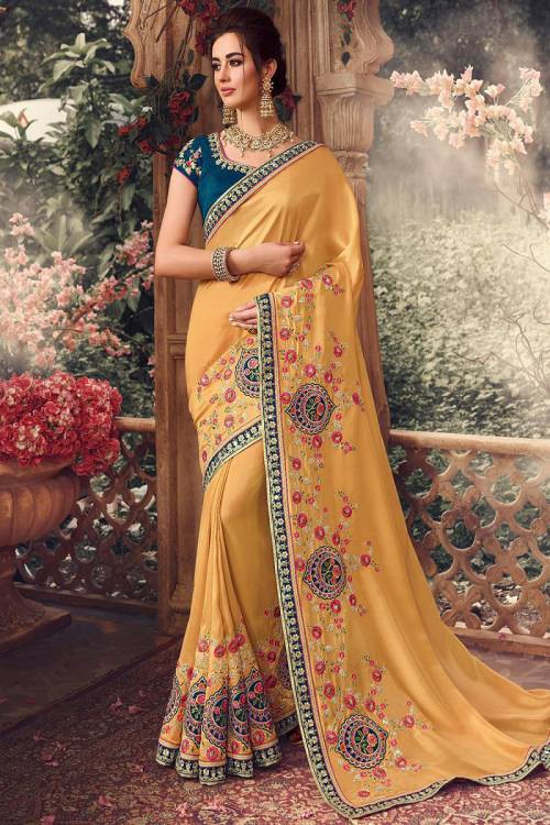 Yellow Silk Designer Resham Embroidered Saree With Blouse Piece