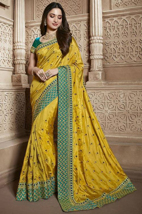 Yellow Matka Silk Embroidered Saree With Blouse Piece
