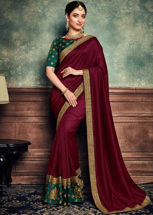 Red Matka Silk Embroidered Saree With Blouse Piece