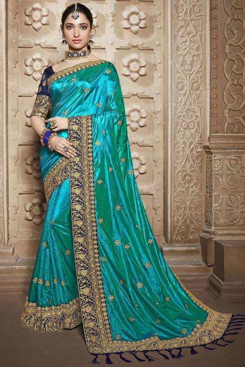 Green Matka Silk Embroidered Saree With Blouse Piece