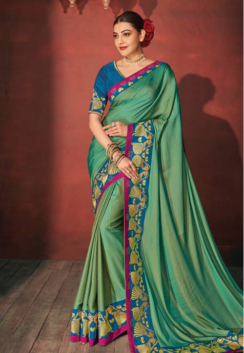 Fashion Fiza Green Matka Silk Embroidered Saree With Blouse Piece