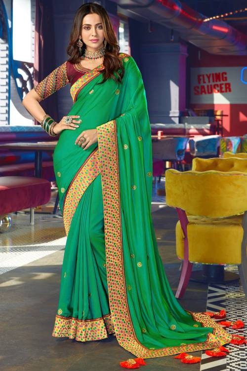 Green Silk Designer Resham Embroidered Saree With Blouse Piece