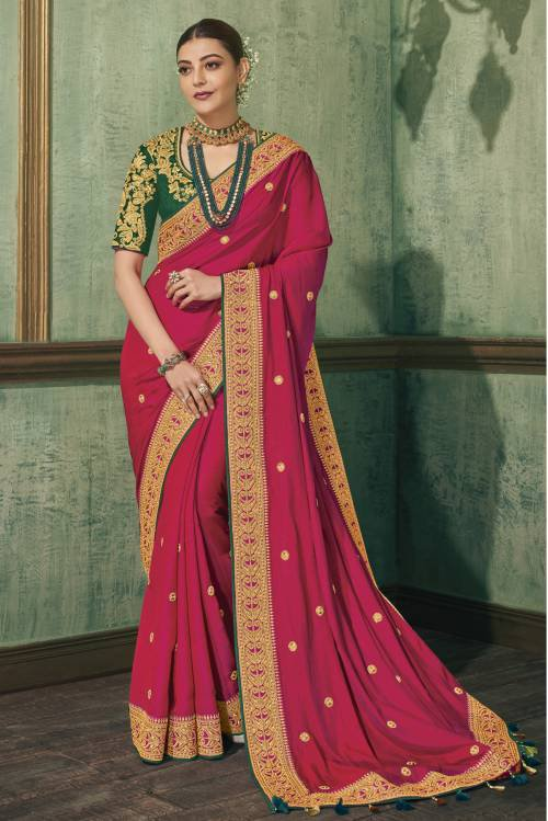 Fashion Fiza Pink Matka Silk Embroidered Saree With Blouse Piece