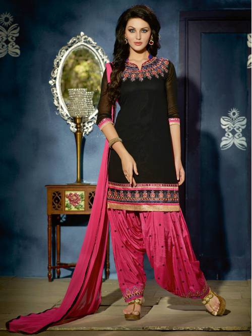 Craftsvilla Black Color Georgette Unstitched  Patiala Salwar Suit